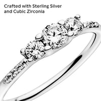 Pandora Jewelry Clear Three-Stone Cubic Zirconia Ring in Sterling Silver