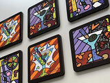 New Romero Britto Coasters Cocktail Martini Set of 6 Beer Drinks Party Gift Home