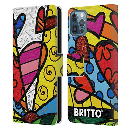 Head Case Designs Officially Licensed Britto Heart Abstract Illustrations Leather Book Wallet Case Cover Compatible with Apple iPhone 12 / iPhone 12 Pro