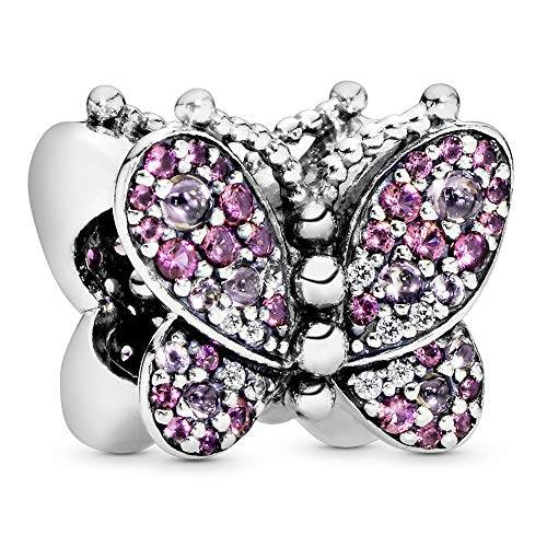 Pandora Jewelry Pink Pave Butterfly Crystal and Cubic Zirconia Charm in Sterling Silver