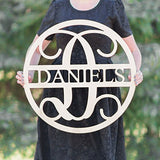 SALE 16-36 inch Wooden Circle LAST NAME SIGN Monogram Letters Vine Room Decor Nursery Decor Wooden Monogram Wall Art Large Wood monogram wall hanging wood LARGE