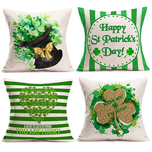 Asamour St. Patrick's Day Pillow Covers Set of 4 for Home Decor Green Clover Shamrock Striped and Kiss Me I'm Irish Lucky Quotes Cotton Linen Throw Pillows Irish National Day Cushion Cases