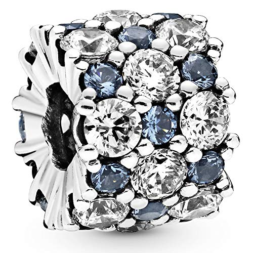 Pandora Jewelry Blue and Clear Sparkle Cubic Zirconia Charm in Sterling Silver