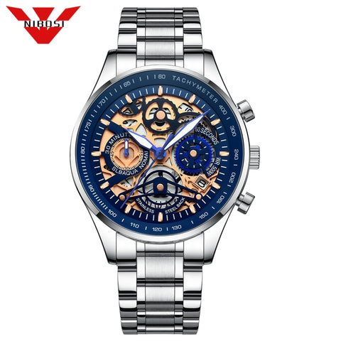 NIBOSI Stainless Steel Skeleton Luxury Sports Watch