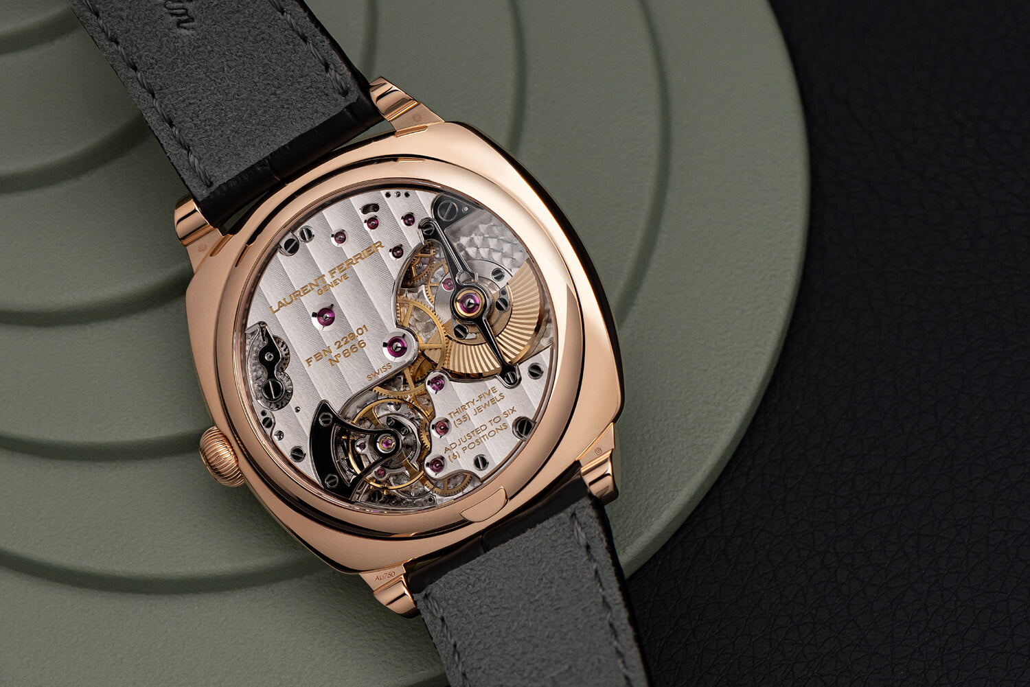 """view of highly hand-finished FBN 229.01 movement in 18k red gold cushion-shaped """"square"""" case"""
