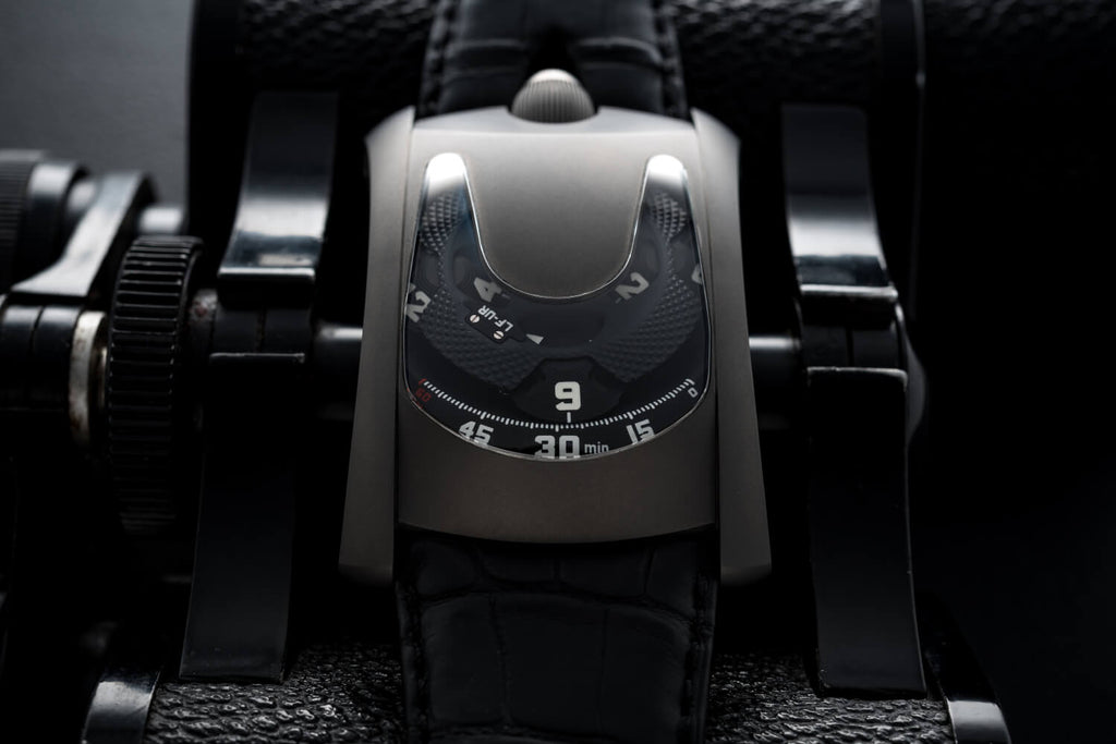 Laurent Ferrier and Urwerk Futuristic Rectangular Black Matte Watch Collaboration Called Arpal Edition Of One For Only Watch