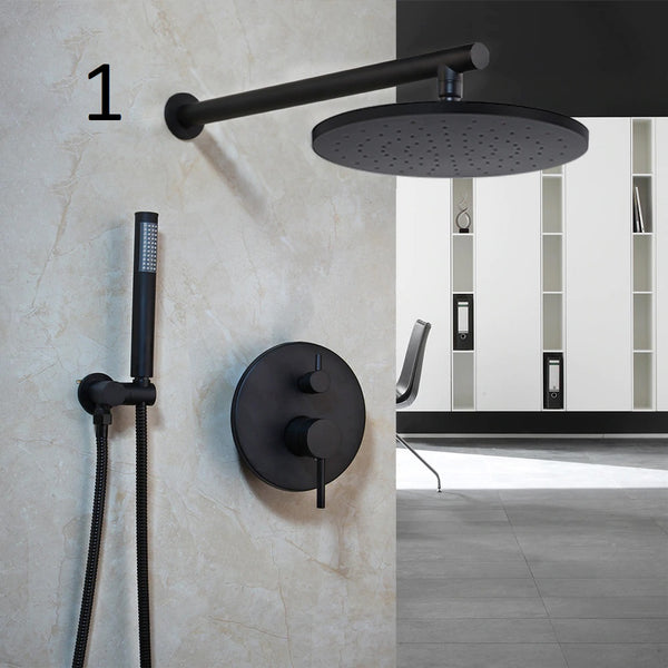 Komodo Black Modern Rainfall Shower set - Grona