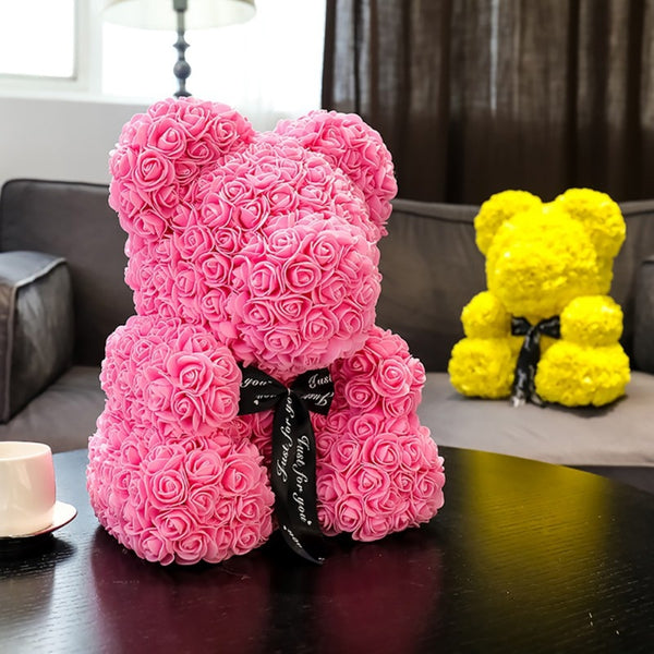 Soap Rose Teddy Bear with Gift Box - Grona