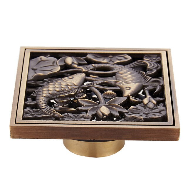 Antique Oriental Style Square Drain - Grona