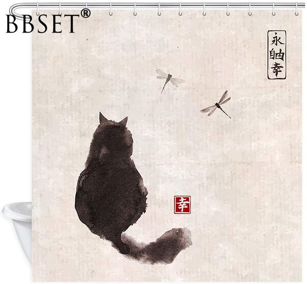 Japanese Painting Black Cat Shower Curtain - Grona