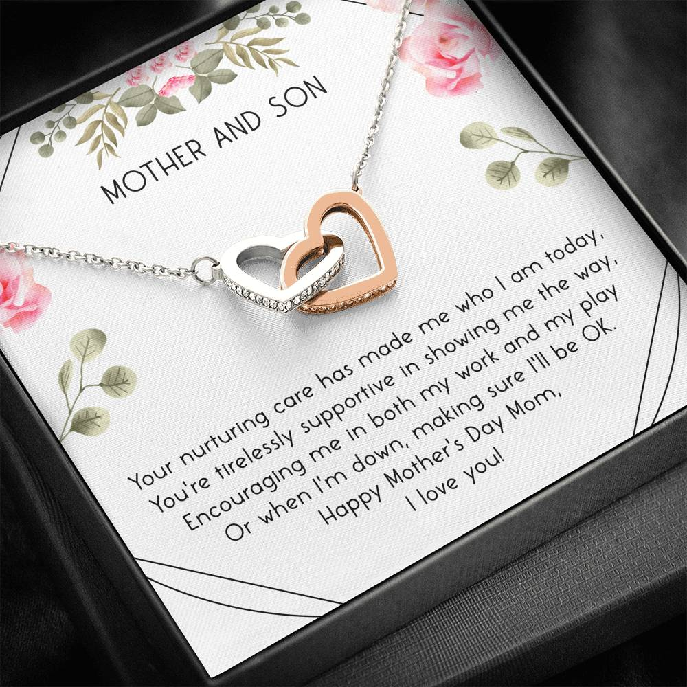 To My mom YOUR NURTURING - CARD Interlocking Hearts Necklace