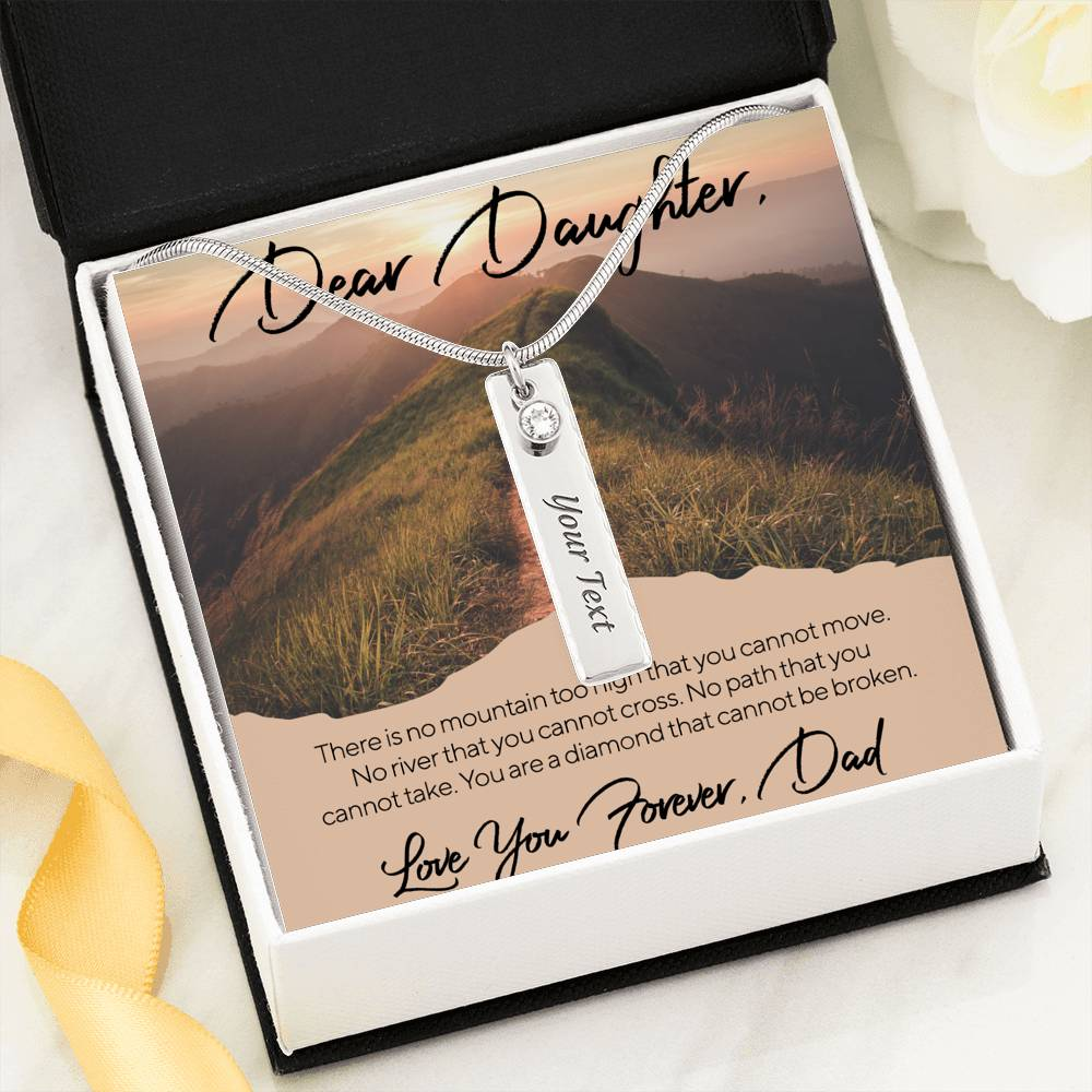 To My daughter You Are the diamond by dad Birthstone Name Necklace