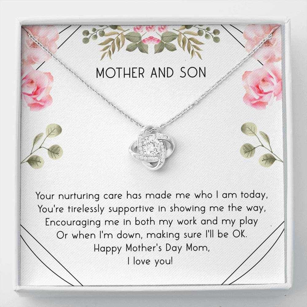 to my mom YOUR NURTURING - CARD Love Knot Necklace