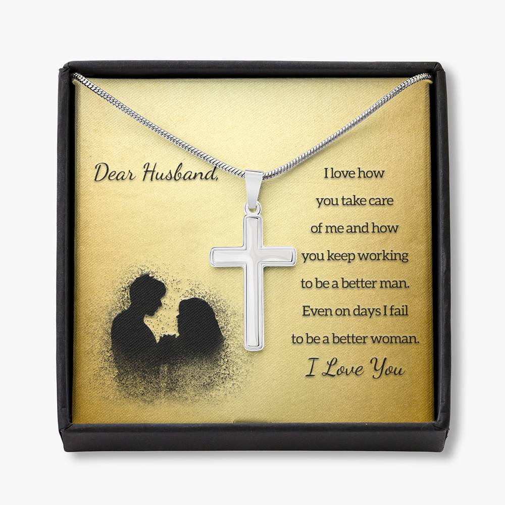 To My Husband HOW YOU TAKE CARE OF ME Cross Necklace