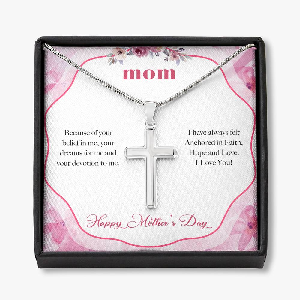 TO MY MOM ANCHORED IN FAITH Cross Necklace