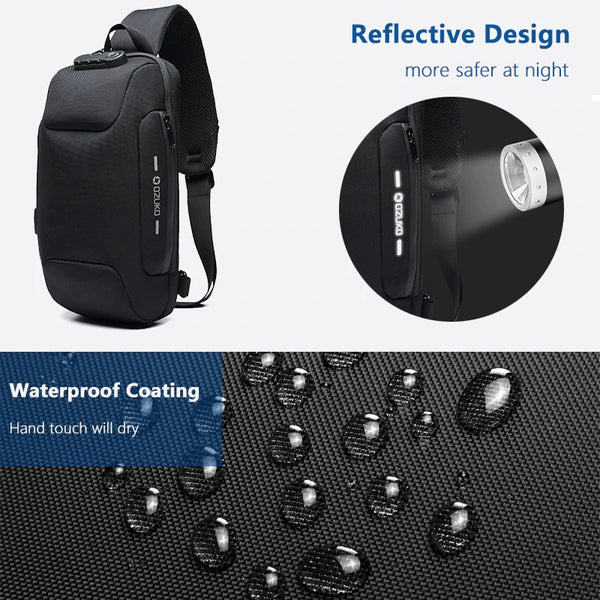 Anti Theft Sling Bag Shoulder Cross body Backpack Waterproof Chest Bag
