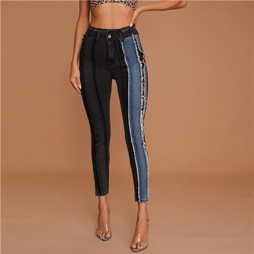 Colorblock Frayed Trim Side Tape Jeans