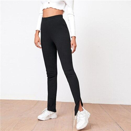 Split Hem Rib-knit Skinny Pants