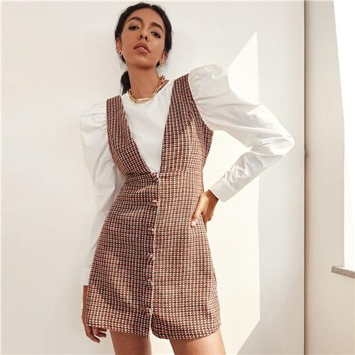 Button Front Tweed Sleeveless Overall Dress Without Blouse