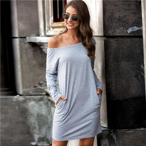 Grey Boat Neck Slant Pocket Tee Dress