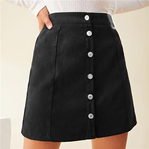 Rust Brown Button Front Mini Skirt