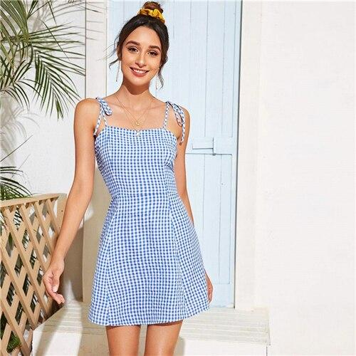 Red Tie Shoulder Gingham Print Cami Dress