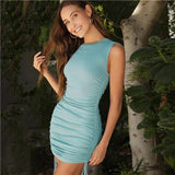 Ruched Drawstring Bodycon Mini Dress