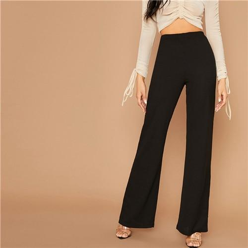 Black High Waist Flare Leg Pants