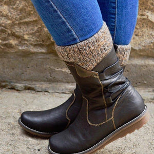 Knitted Lined Zipper Mid Calf Boots