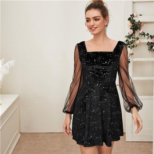 Galaxy Print Contrast Sheer Mesh Sleeve Dress
