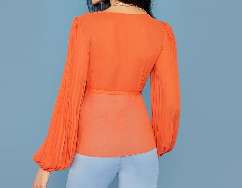 Bright Orange Tie Side Wrap Blouse