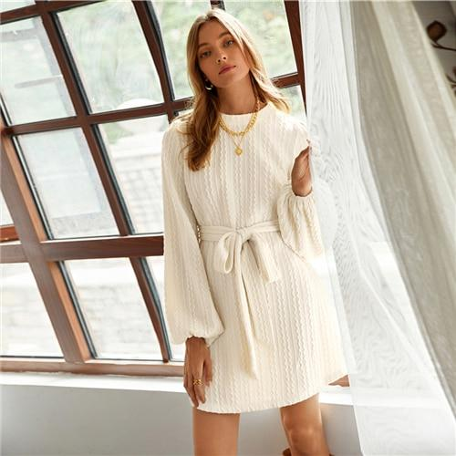 Beige Bishop Sleeve Cable Knit Belted Dress