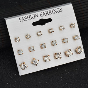 Crystal Alloy Earrings Set (9pairs/set)