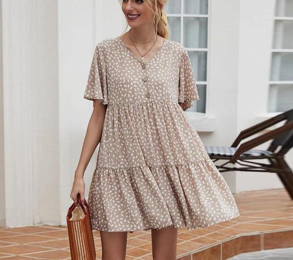 Khaki Print Flutter Sleeve Dress