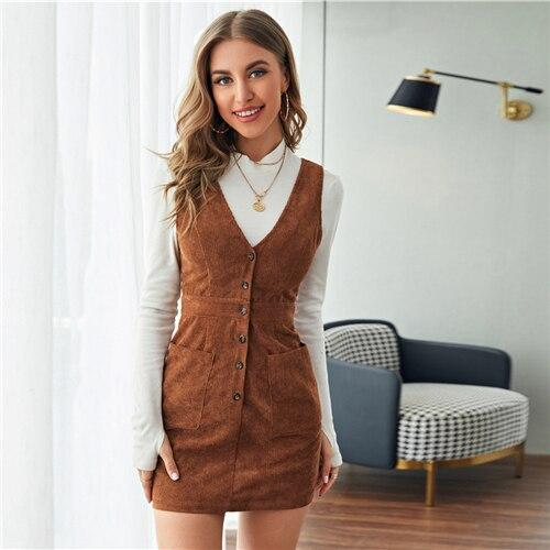 Single Breasted Patch Pocket Dress