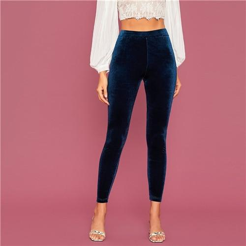 Navy Elastic Waist Velvet Cropped Leggings
