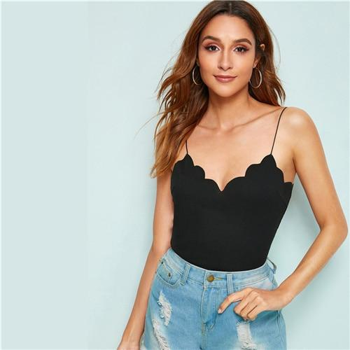 Scalloped Trim Rib-Knit Cami Top