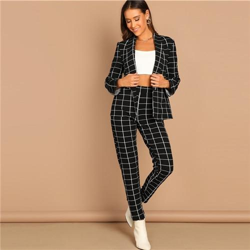 Black Stretchy Grid Print Long Sleeve Blazer and Pants Set