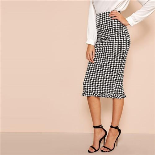 Ruffle Hem Bodycon Houndstooth Sheath Skirt