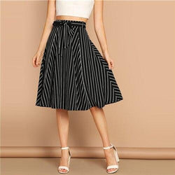 Boho High Waist Striped Belted Shift Skirt