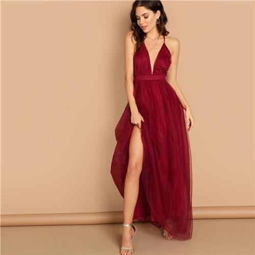 Burgundy Crisscross Back Cami Dress