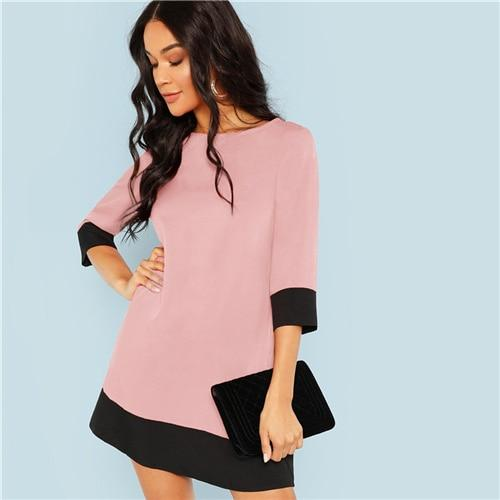 Colorblock Contrast Trim Tunic Dress
