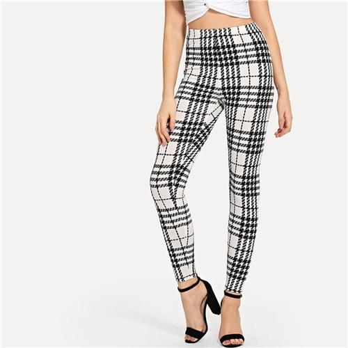 Black And White Plaid Skinny High Waist Leggings