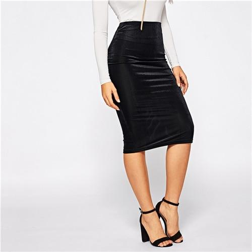 Black Mid Waist Bodycon Pencil Skirt