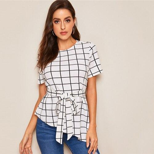 Asymmetrical Hem Belted Grid Summer Blouse
