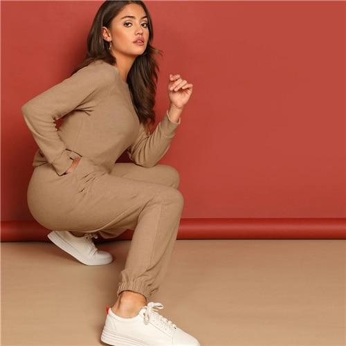 Apricot Round Neck Pullover and Slant Pocket Plain Pants Set