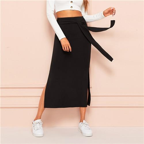 Tie Waist Split Side Solid Skirt