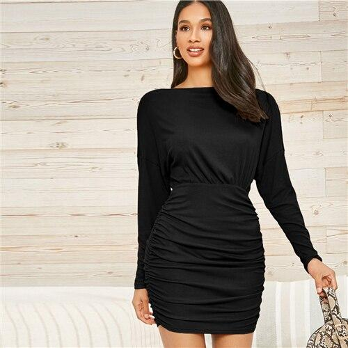 Drop Shoulder Rib-knit Ruched Hem Dress