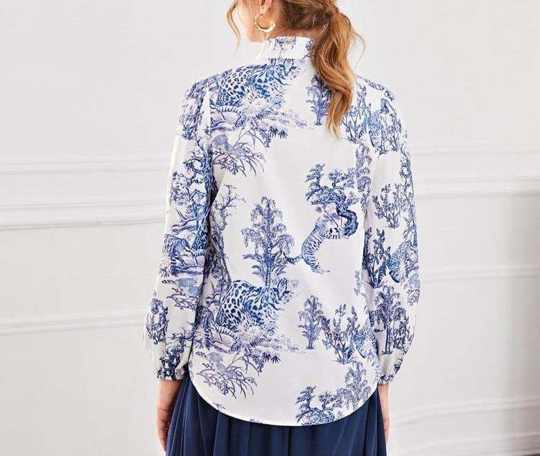 Blue and White Tie Neck Landscape Print Top