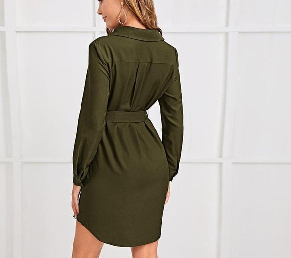 Curved Hem Button Front Belted Shirt Dress